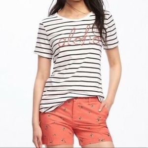 Old Navy Striped Aloha Sequin Tee size M